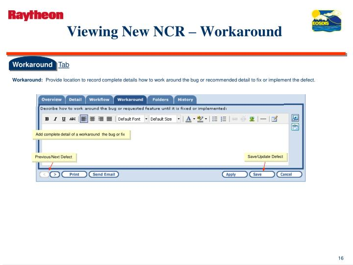 Viewing New NCR – Workaround