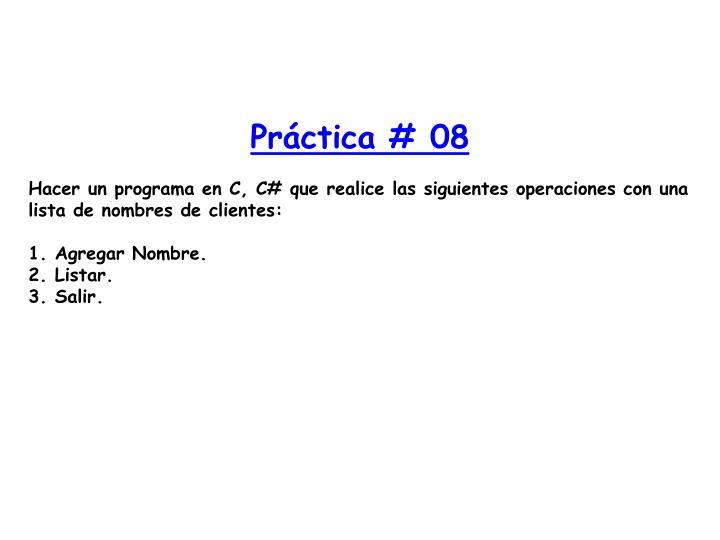 Práctica # 08