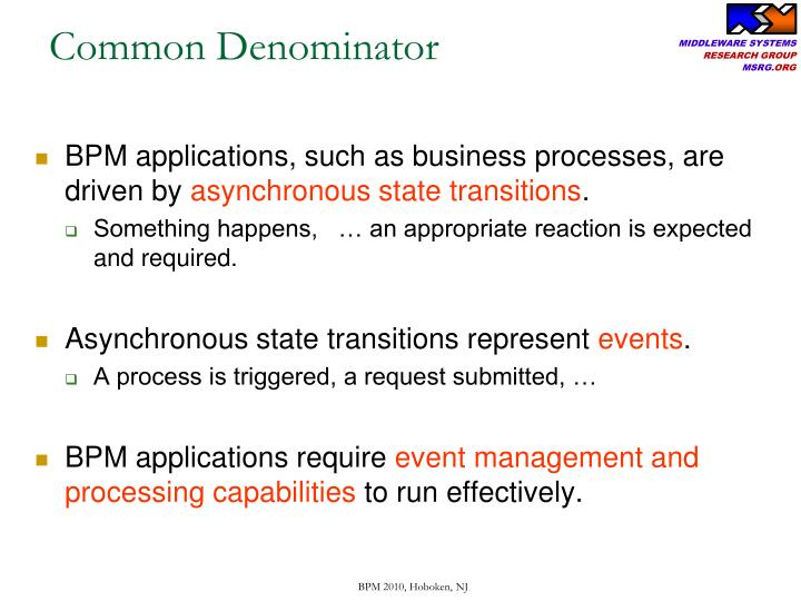 BPM applications, such as business processes, are driven by