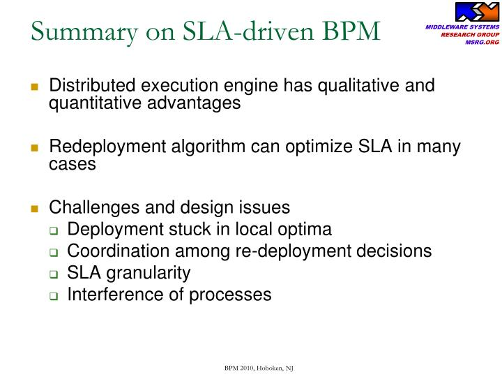 Summary on SLA-driven BPM