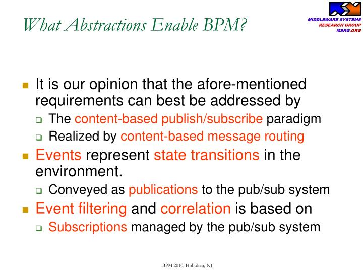 What Abstractions Enable BPM?
