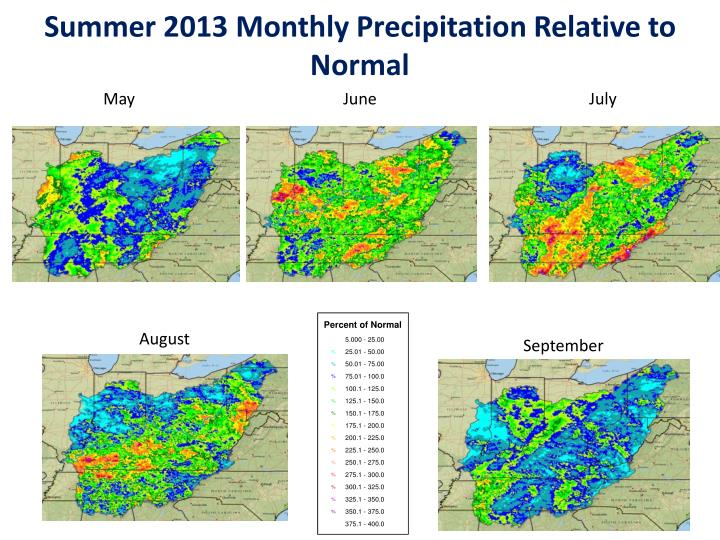 Summer 2013 monthly precipitation relative to normal