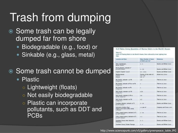 Trash from dumping
