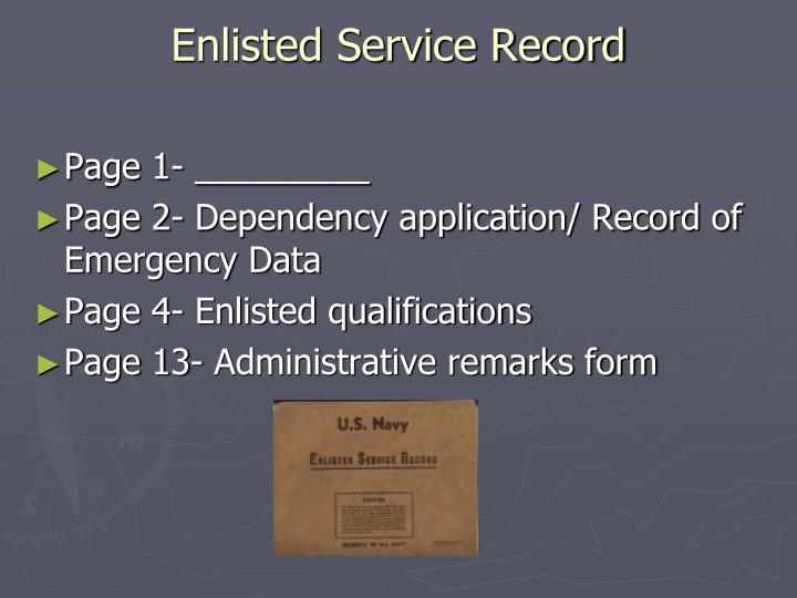 Enlisted Service Record