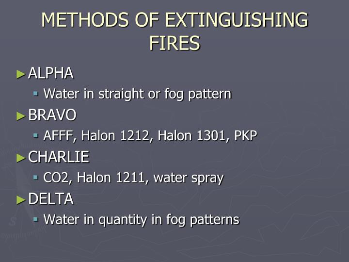 METHODS OF EXTINGUISHING FIRES