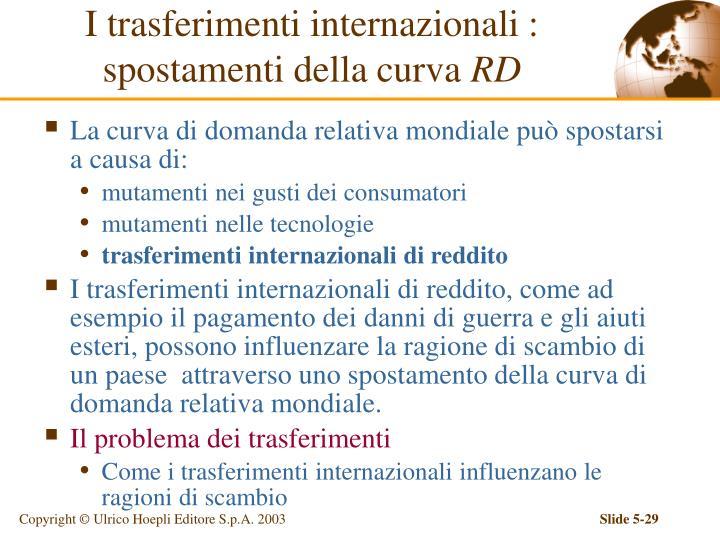 I trasferimenti internazionali : spostamenti della curva