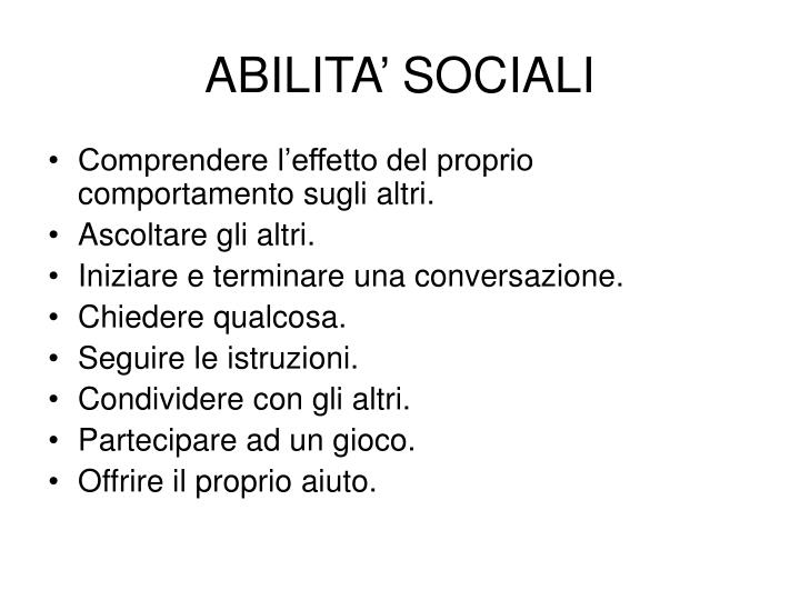 ABILITA SOCIALI
