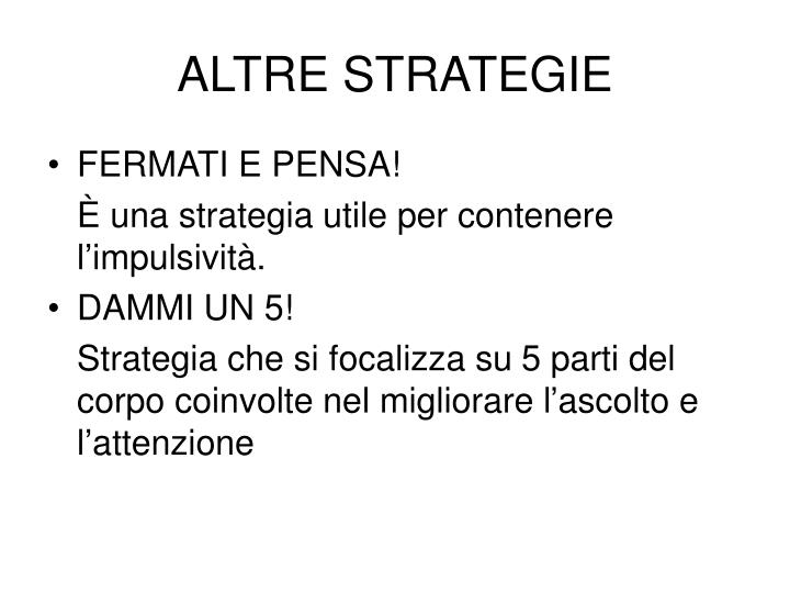 ALTRE STRATEGIE