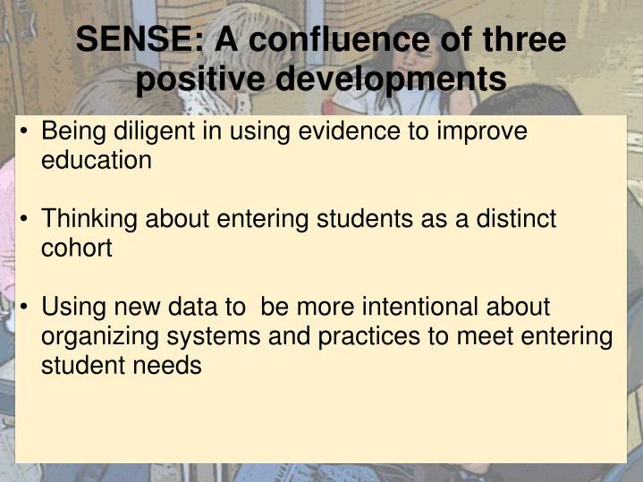SENSE: A confluence of three positive developments