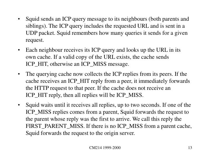 Squid sends an ICP query message to its neighbours (both parents and siblings). The ICP query includes the requested URL and is sent in a UDP packet. Squid remembers how many queries it sends for a given request.