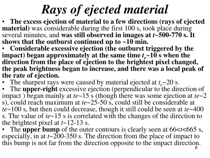 Rays of ejected material