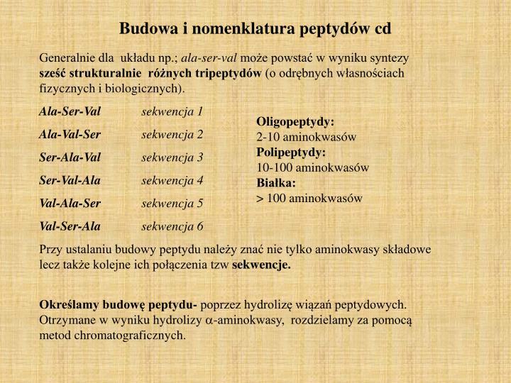 Budowa i nomenklatura peptydów