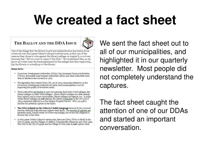 We created a fact sheet