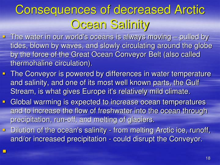Consequences of decreased Arctic Ocean Salinity
