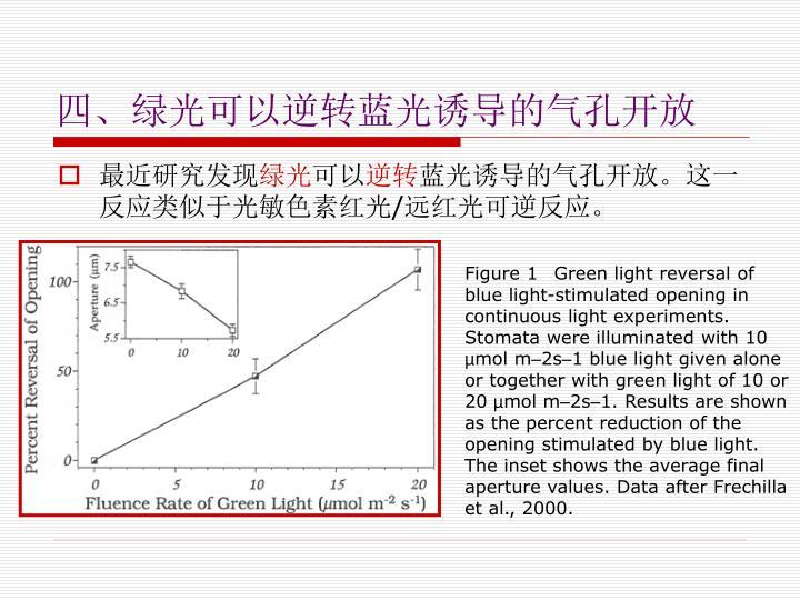 四、绿光可以逆转蓝光诱导的气孔开放