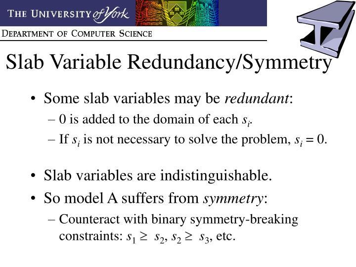 Slab Variable Redundancy/Symmetry