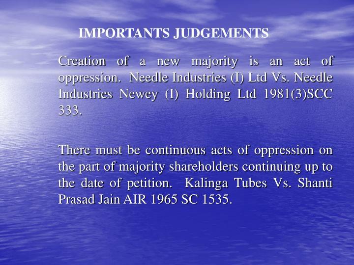 IMPORTANTS JUDGEMENTS