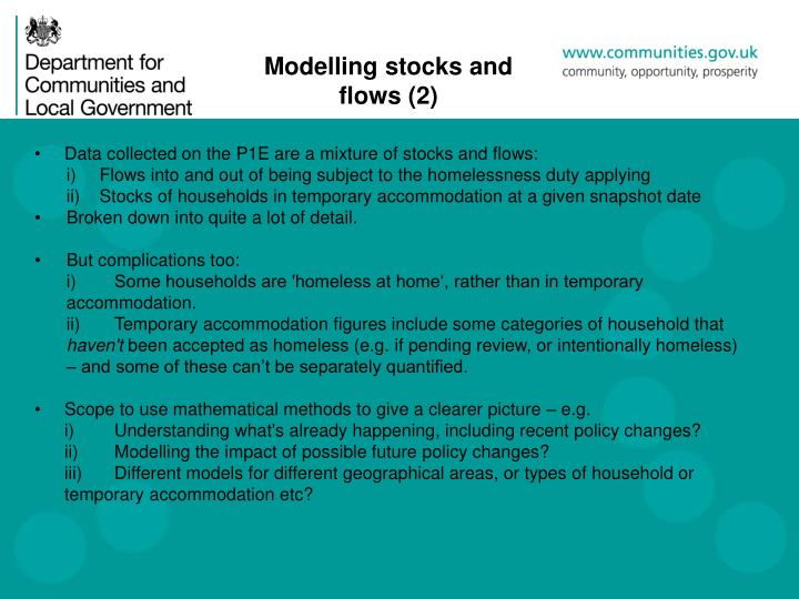 Modelling stocks and flows (2)