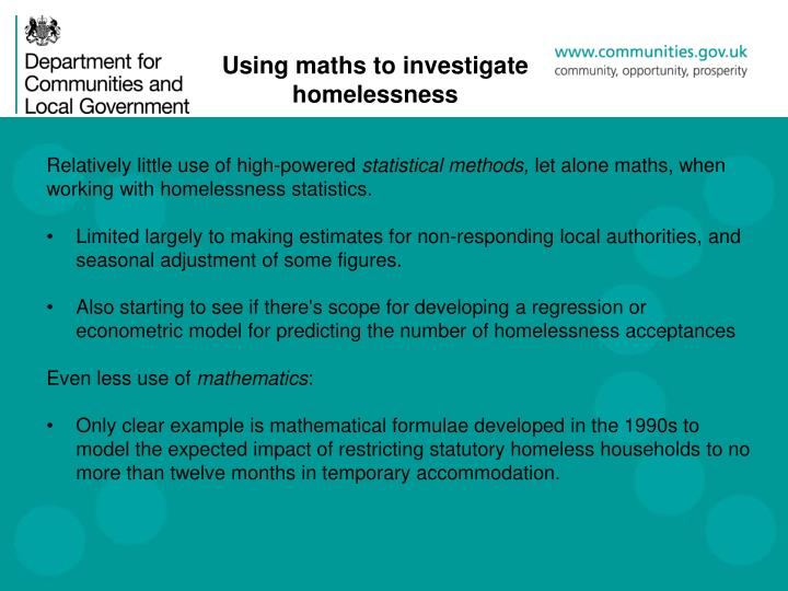 Using maths to investigate homelessness