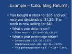 example calculating returns