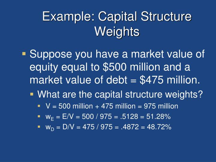 Example: Capital Structure Weights