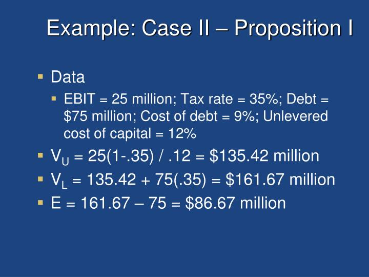 Example: Case II – Proposition I