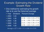 example estimating the dividend growth rate