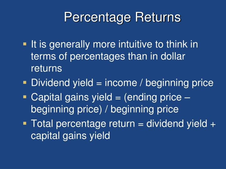Percentage returns