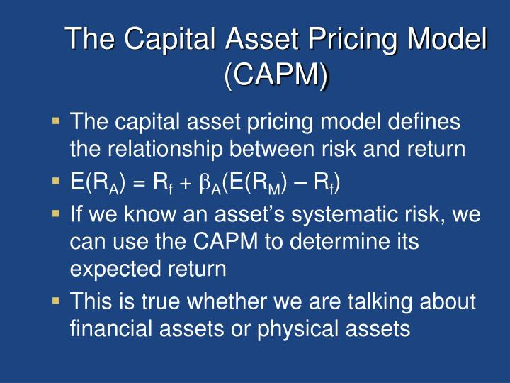 The Capital Asset Pricing Model (CAPM)