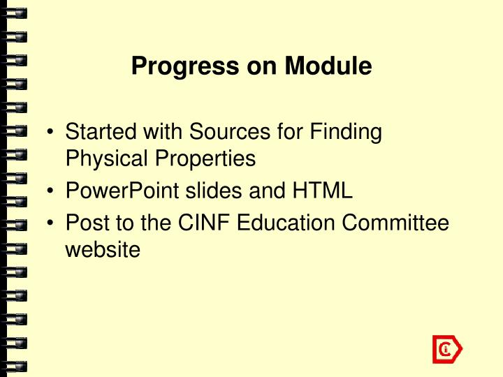 Progress on Module