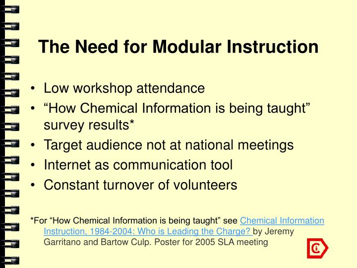 The need for modular instruction