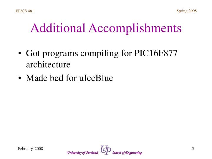 Additional Accomplishments