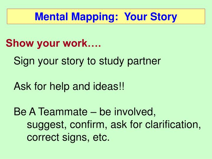 Mental Mapping:  Your Story