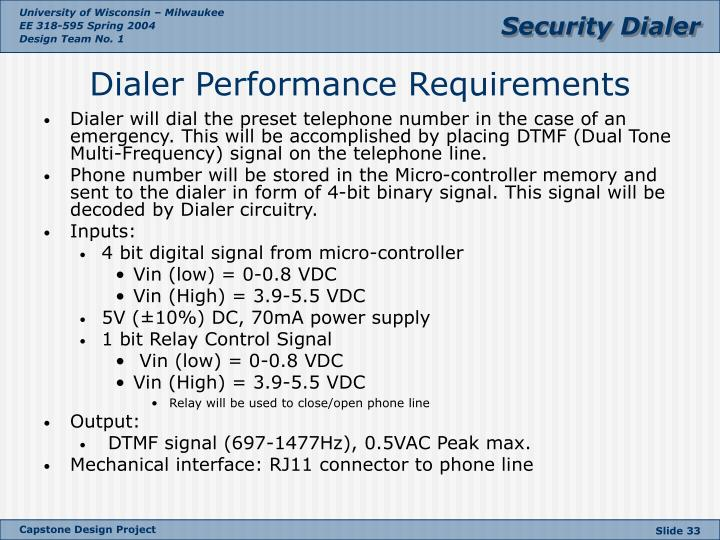 Dialer will dial the preset telephone number in the case of an emergency. This will be accomplished by placing DTMF (Dual Tone Multi-Frequency) signal on the telephone line.