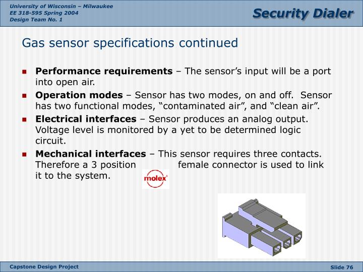 Gas sensor specifications continued