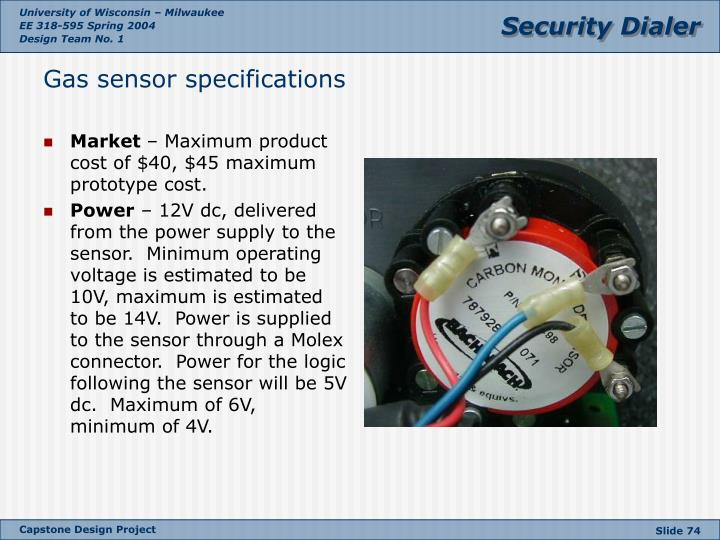 Gas sensor specifications