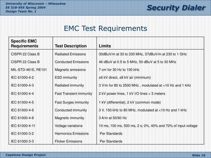 EMC Test Requirements