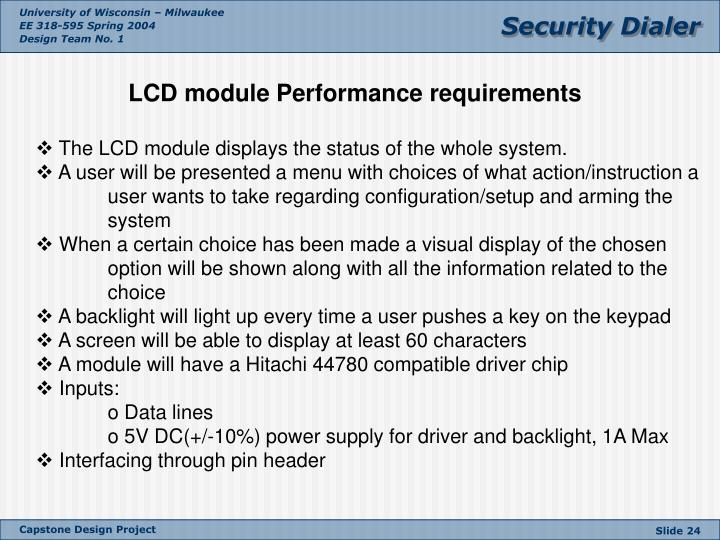 LCD module Performance requirements