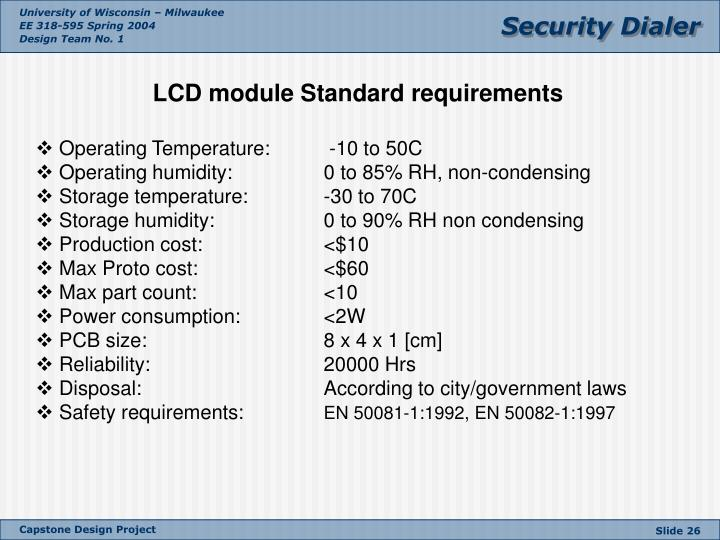 LCD module Standard requirements