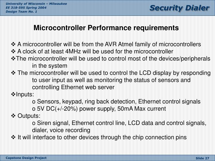 Microcontroller Performance requirements