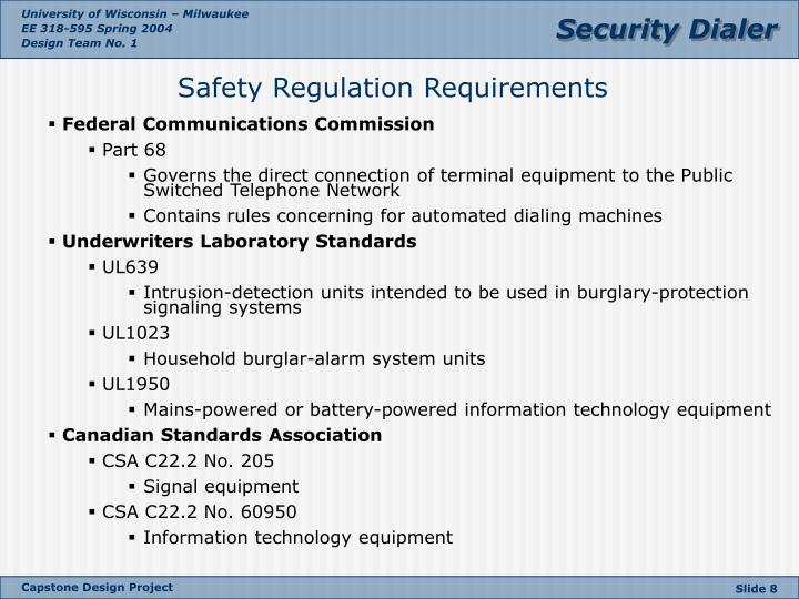 Safety Regulation Requirements