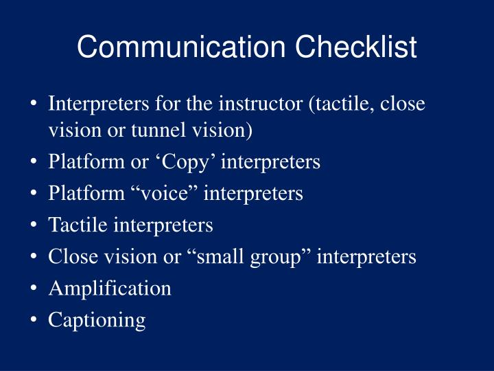 Communication Checklist