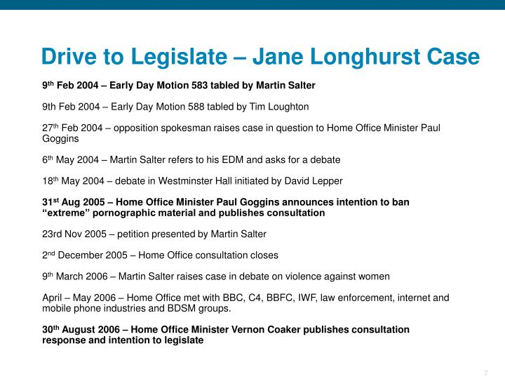 Drive to Legislate – Jane Longhurst Case