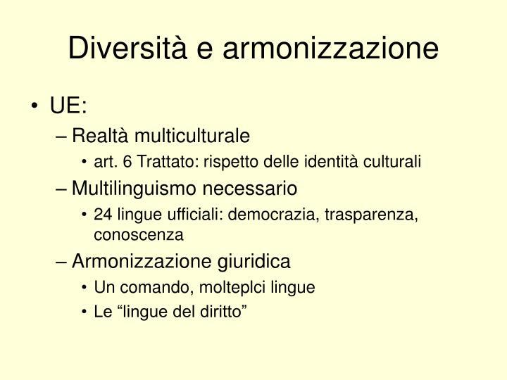 Diversità e armonizzazione