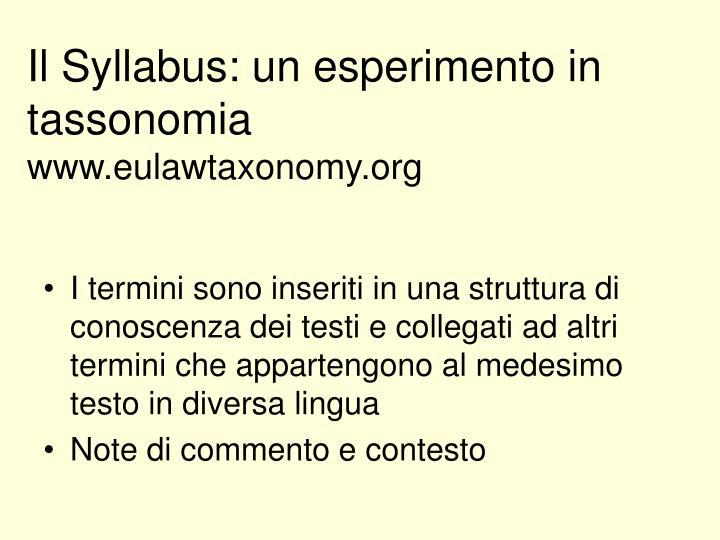 Il Syllabus: un esperimento in tassonomia