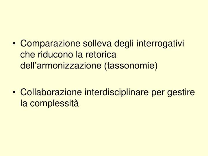 Comparazione solleva degli interrogativi che riducono la retorica dell'armonizzazione (tassonomie)