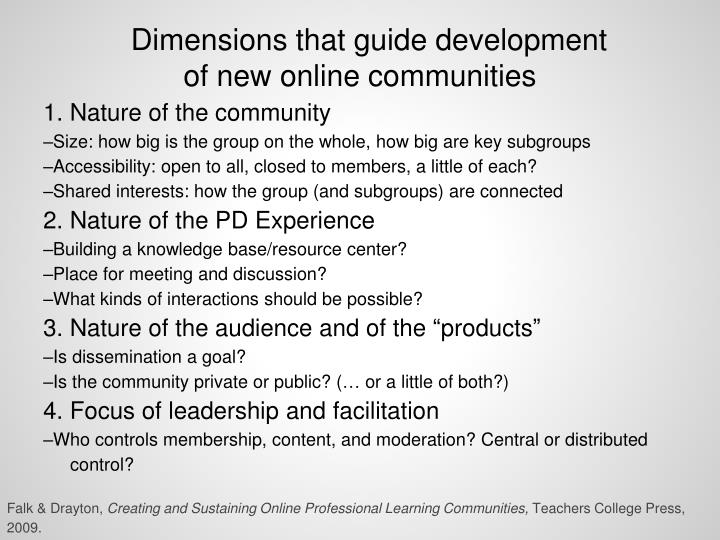 Dimensions that guide development