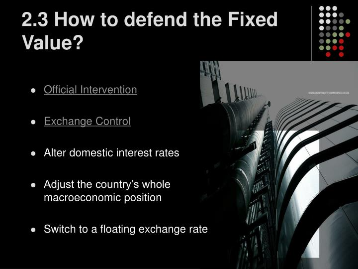 2.3 How to defend the Fixed Value?