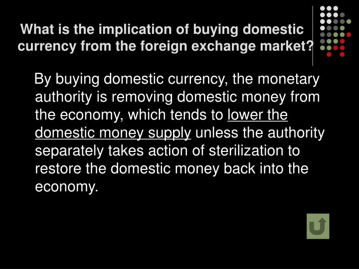 What is the implication of buying domestic currency from the foreign exchange market?