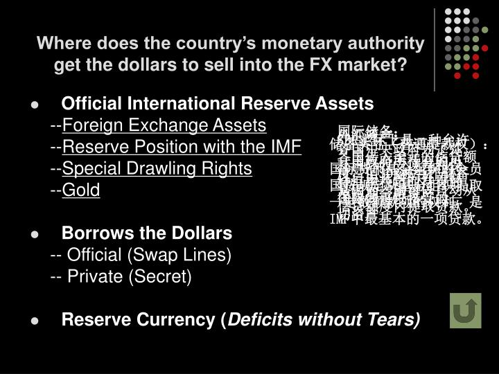 Where does the country's monetary authority get the dollars to sell into the FX market?